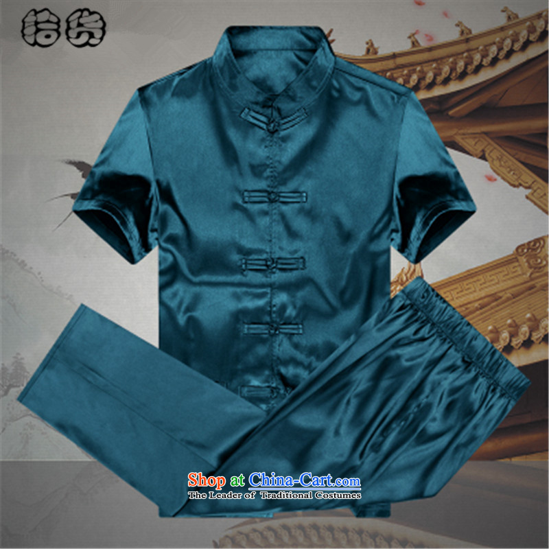 The 2015 summer, pickup men Tang Dynasty Package summer short sleeve loose larger of older persons in the elderly men's father and grandfather Tang dynasty summer leisure Blue聽185