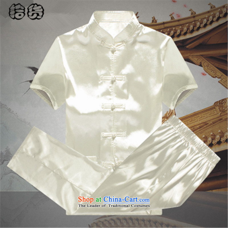 The 2015 summer, pickup men Tang Dynasty Package summer short sleeve loose larger of older persons in the elderly men's father and grandfather Tang dynasty summer leisure blue聽pickup (shihuo 185) , , , shopping on the Internet