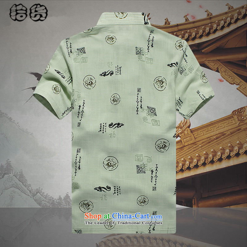 The 2015 summer, pickup China wind Tang dynasty half sleeve retro-clip stamp of middle-aged and young men's shirt short-sleeved shirt large very casual Green 190
