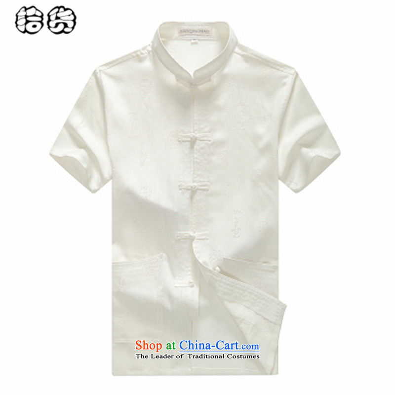 The 2015 summer pickup_ older short-sleeved blouses Tang middle-aged men China wind half sleeveless shirt that very casual Big Daddy's grandfather load code summer White聽170