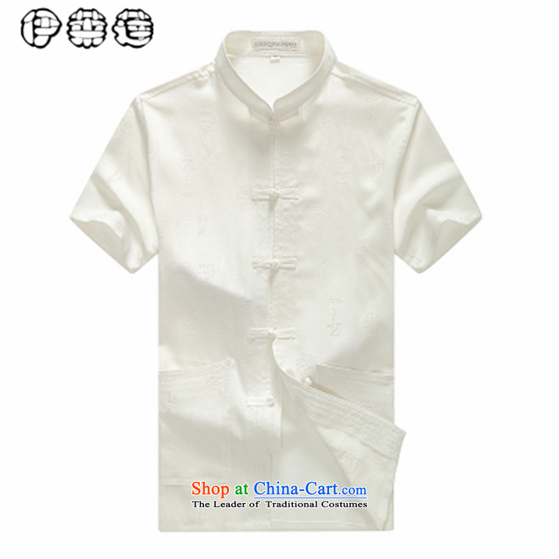 Hirlet Lin Summer 2015_ older short-sleeved blouses Tang middle-aged men China wind half sleeveless shirt that very casual Big Daddy's grandfather load code summer White聽185