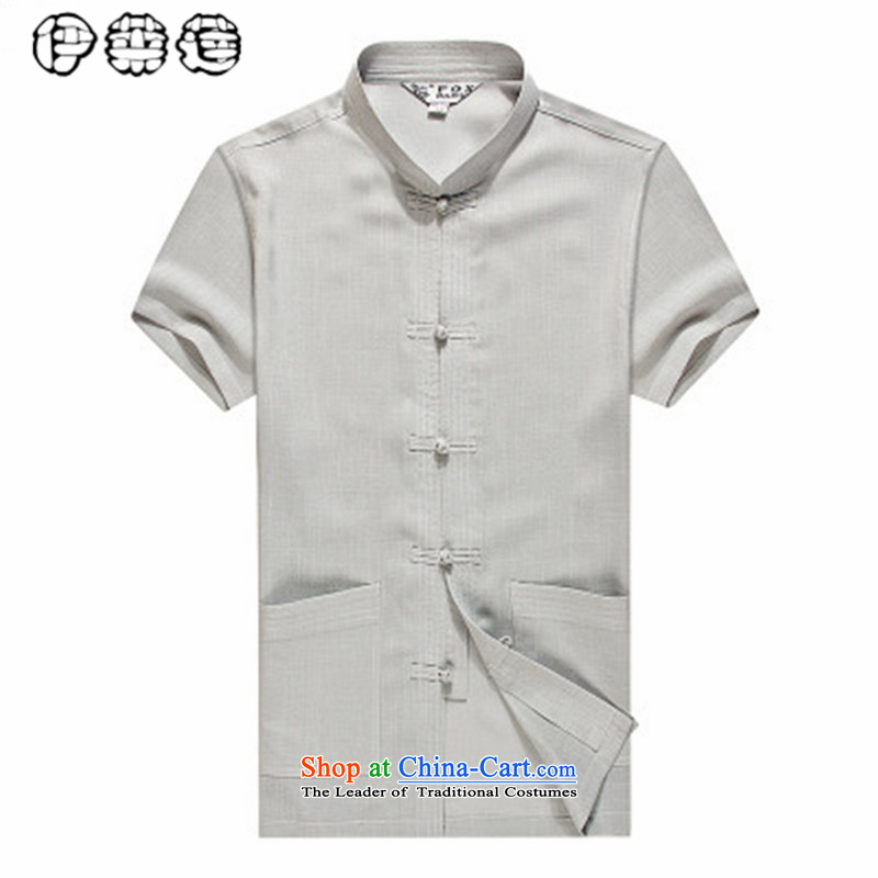 Hirlet Wu Xia, middle-aged men 2015 Taxi Tang dynasty short-sleeved shirt collar in the summer of elderly men blouses large leisure short-sleeved shirt with father gray聽180