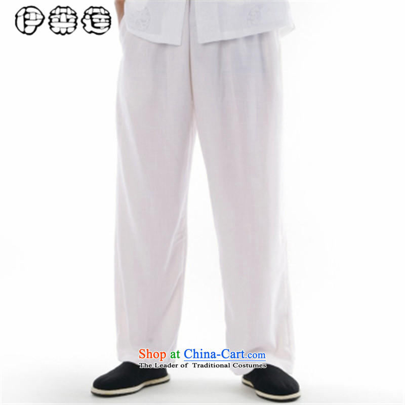 Hirlet Lin 2015 Summer men Tang dynasty summer pants for larger elasticated relaxd middle-aged waistband trousers washable work trousers father Tang pants down white 31