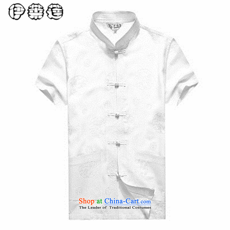Hirlet Wu Xia, middle-aged linen 2015 short-sleeved shirt Men's Mock-Neck Tang Dynasty Large relaxd China wind shirts in older Han-mount white father?170