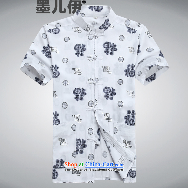 Summer of older persons in the Tang dynasty short-sleeved cotton jogging casual Han-kung fu shirt white?S