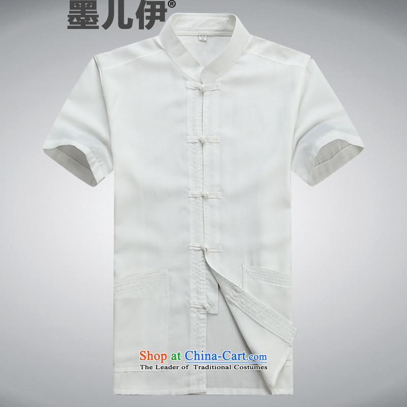 Tang Dynasty men short-sleeved spring and summer load of older persons in the Tang dynasty linen short-sleeved cotton linen jogs casual Kit Han-kung fu shirt White?M