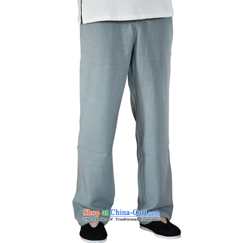 Linen Pants and summer men casual pants loose cotton linen and men's trousers, ethnic trousers gray  XXL