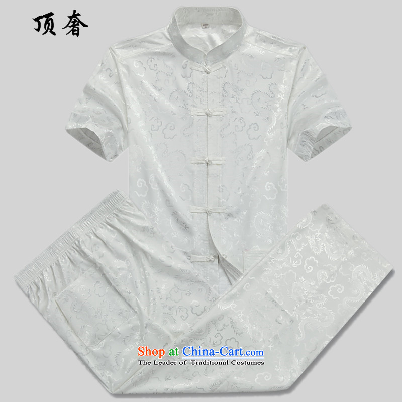 Top Luxury men Tang Dynasty Package summer short-sleeved of older persons in the elderly men's father clothes with grandpapa male Tang dynasty summer thin, larger loose version male blouses white_ Kit?165