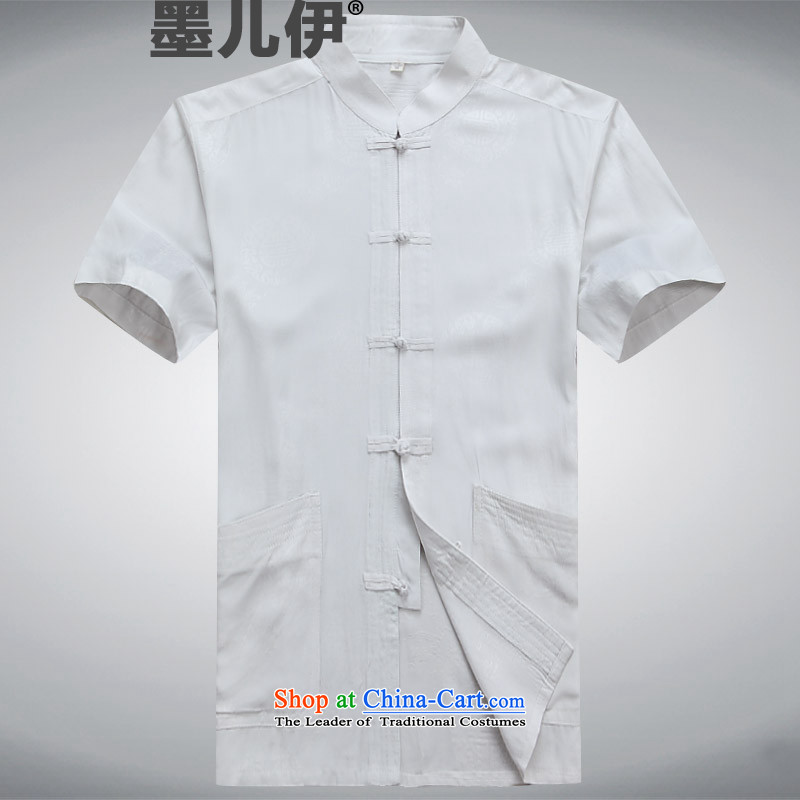 2015 New Tang Dynasty Xia Men's older pure cotton Tang Dynasty Short-Sleeve Men father replacing white S