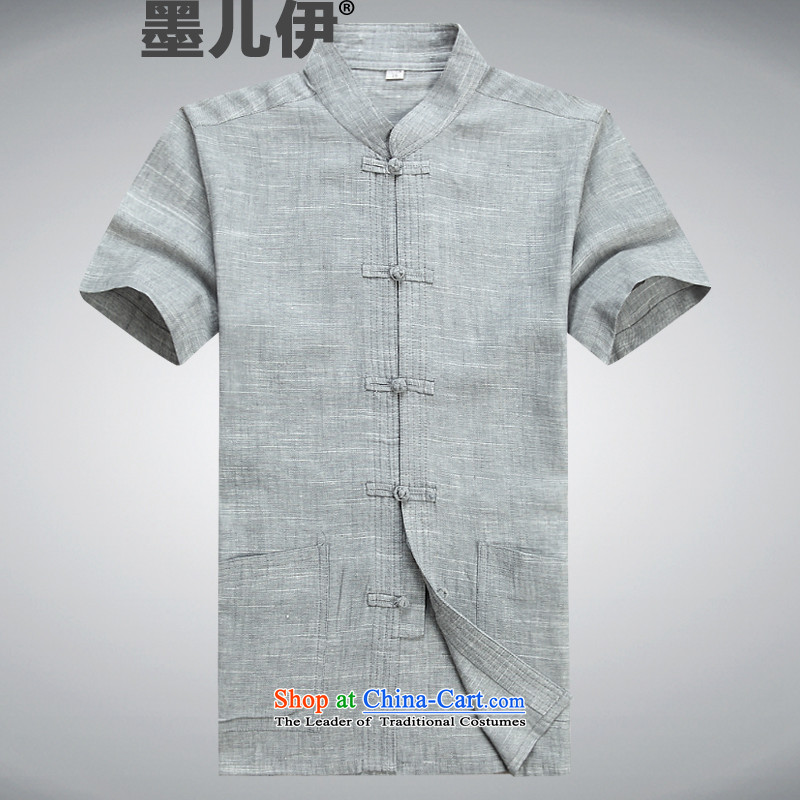 2015 new linen men Tang dynasty short-sleeved shirt Chinese clothing summer shirt that older Tang Dynasty Light Gray?XL