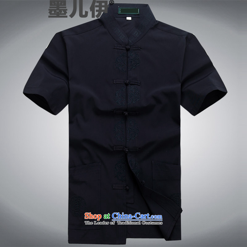 2015 New Men Tang dynasty short-sleeved shirt Chinese clothing summer shirt that older dark blue?L