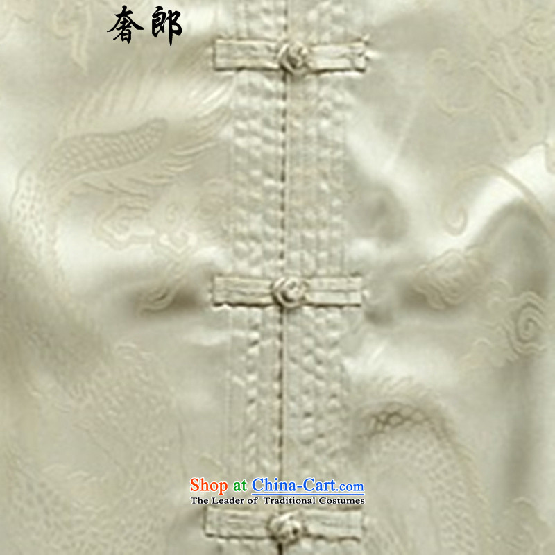 The extravagance in health of older men and the spring and summer Tang dynasty l Chinese Chinese tunic kit father blouses national costume Han-New China wind Han-tai chi service kit M/170, beige luxury health , , , shopping on the Internet