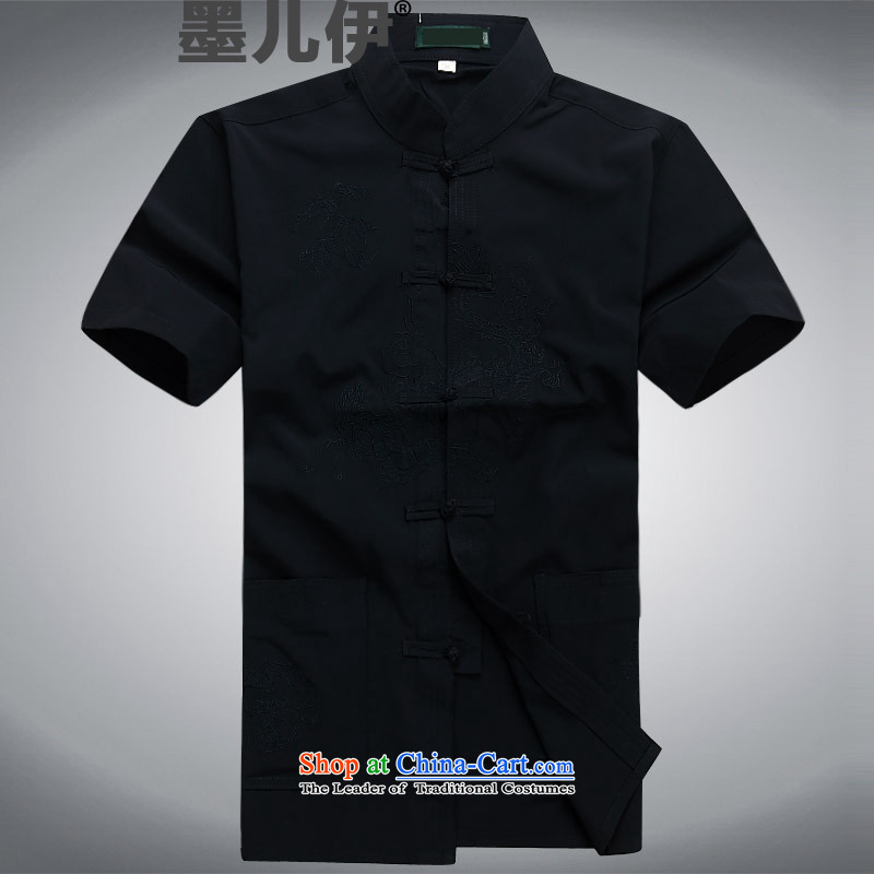 Summer men Tang dynasty short-sleeved T-shirt, Tang Dynasty Chinese men older casual dress and a pair of dark blue?XL
