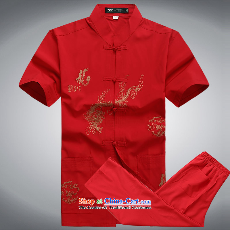 Summer 2015 men's new Tang dynasty short-sleeved Tang in older-Tang dynasty male short-sleeved Tang Dynasty Package Set of XXXL red