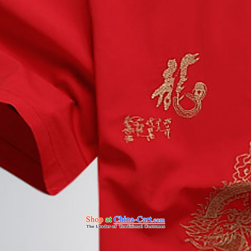 Summer 2015 men's new Tang dynasty short-sleeved Tang in older-Tang dynasty male short-sleeved Tang Dynasty Package Set of聽ink-red XXXL, (MORE) , , , YI shopping on the Internet