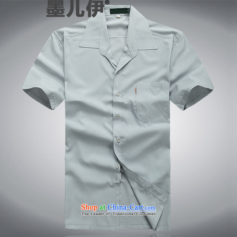 In older men summer reverse collar short-sleeved shirt relaxd clothes business and leisure father Father half Sleeve Tops Peterkin shirt light gray?M