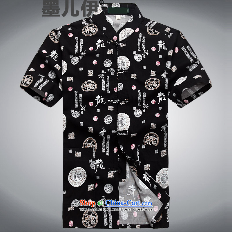 2015 Spring/Summer New Chinese elderly in the collar cotton linen Tang Blouses Han-ball-service for summer black?S