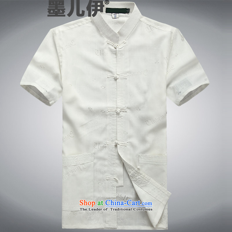 Older persons in the new summer men Tang dynasty cotton linen flax Cotton Men's Han-short-sleeved blouses White?XL Tang