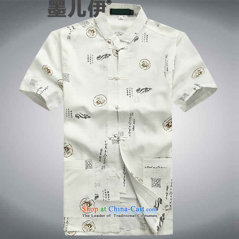 In older men short-sleeved summer Chinese cotton knitted blouses White?M Tang