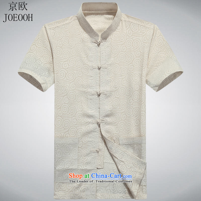 Beijing summer, OSCE older short-sleeved middle-aged man Tang dynasty China wind half male in his shirt-sleeves installed grandpa summer father beige聽M