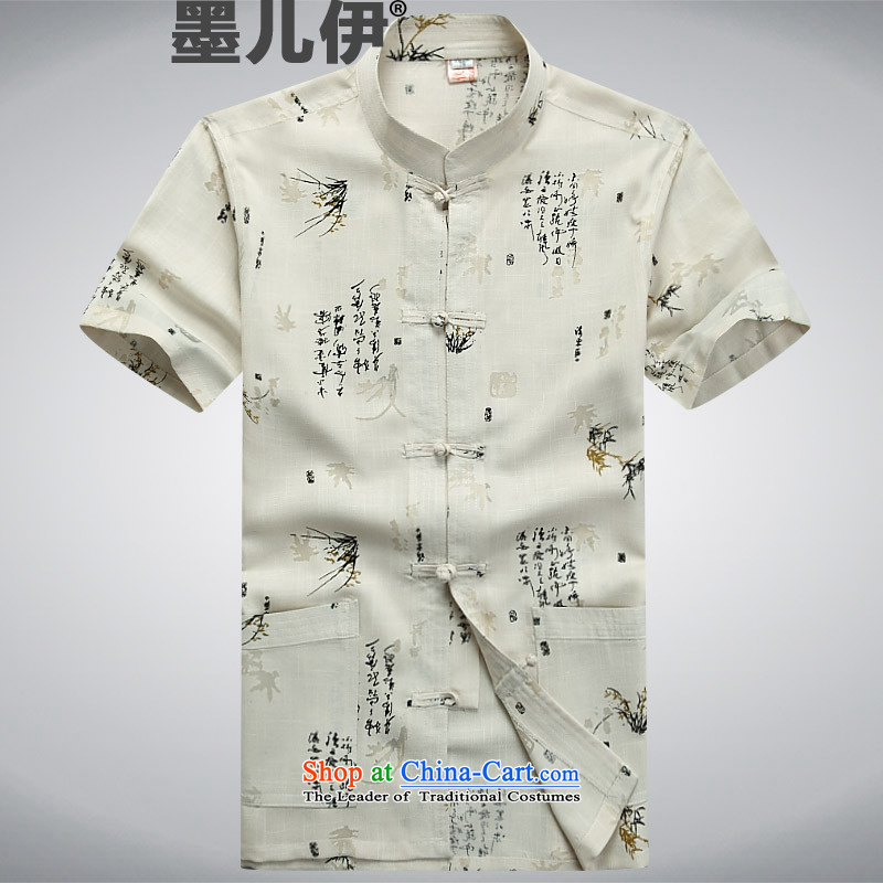 The elderly in the Tang dynasty and summer collar linen Tang dynasty men short-sleeved larger men China wind improved Chinese tunic beige�XL