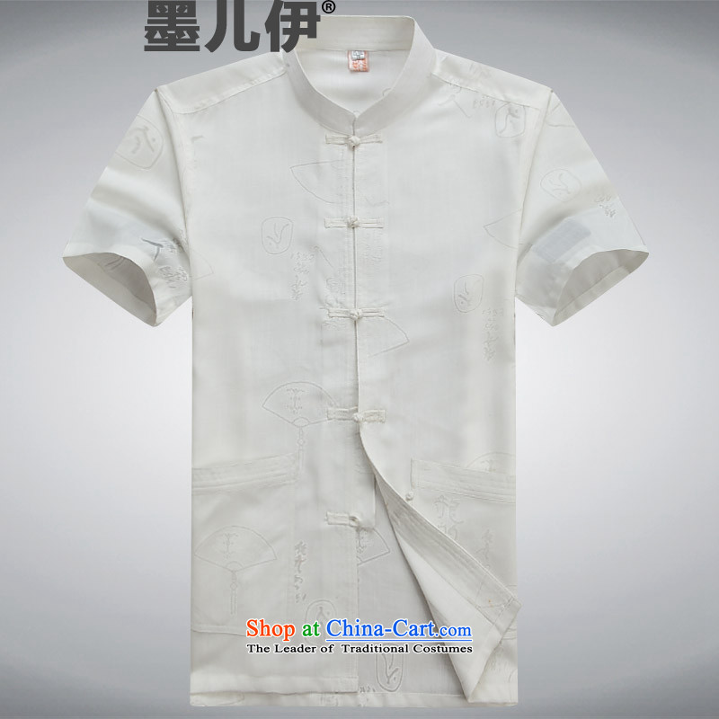 The elderly in the Tang Dynasty and China wind load father Chinese linen summer cotton linen short-sleeved Tang Dynasty Package Taegeuk service men and to intensify the code load white燲XXL Dad