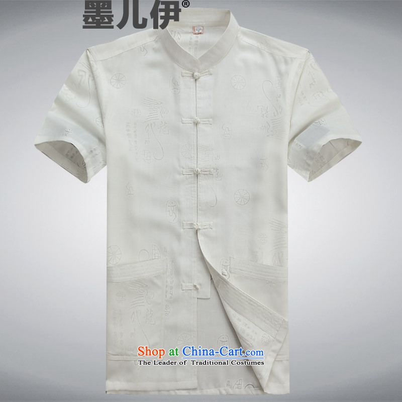 2015 linen Tang Dynasty Package and short-sleeved in older men Tang dynasty summer national costumes cotton linen china wind White?M