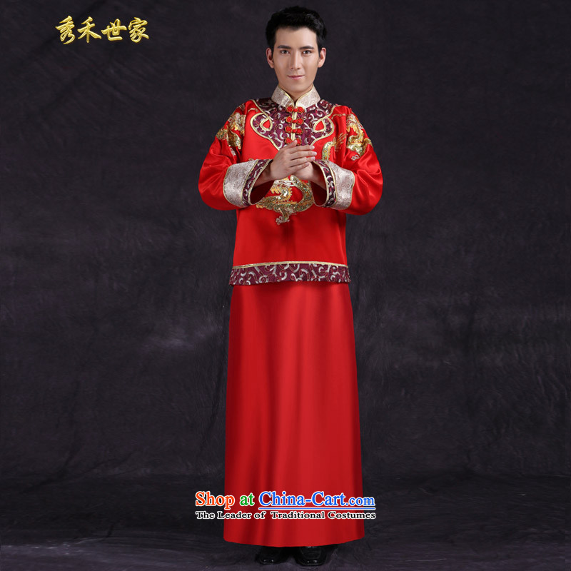 Sau Wo service men summer Chinese men married new Ogonis toasting champagne dress suit large use of Tang Dynasty Chinese tunic costume large red?L