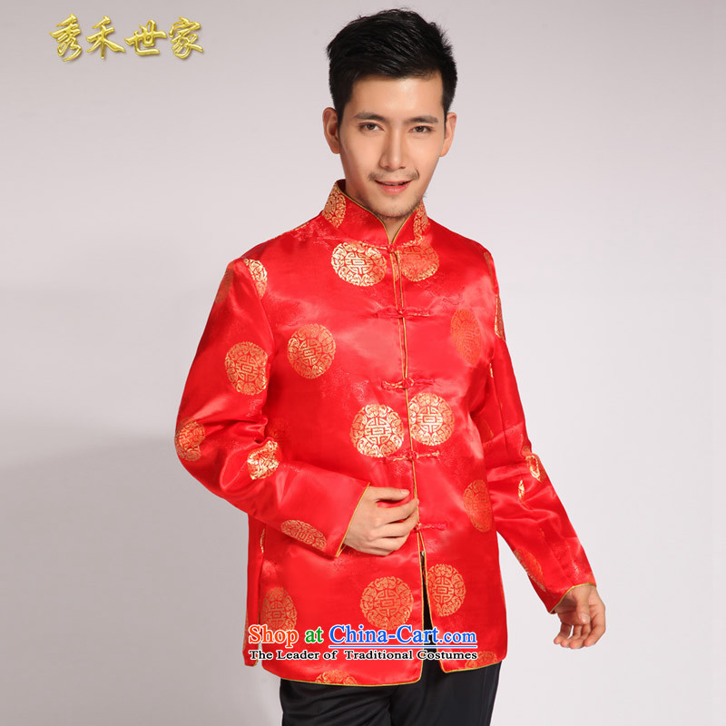 Sau Wo Men's family new summer Chinese style wedding married men and Tang dynasty red Sau Wo serving Chinese tunic national costumes of the bridegroom bows dress large red?L