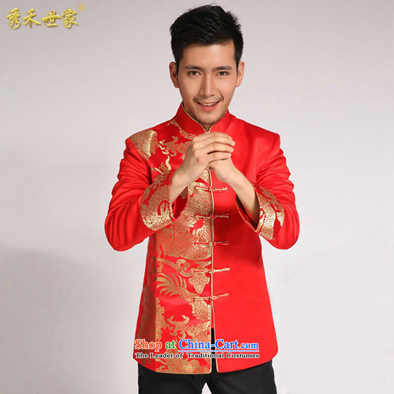 Sau Wo saga of men of the bridegroom Tang Dynasty Chinese wedding dress Sau Wo service men and the groom replacing Men's Apparel-soo and roving entertainment suits Single T-shirt large red?M