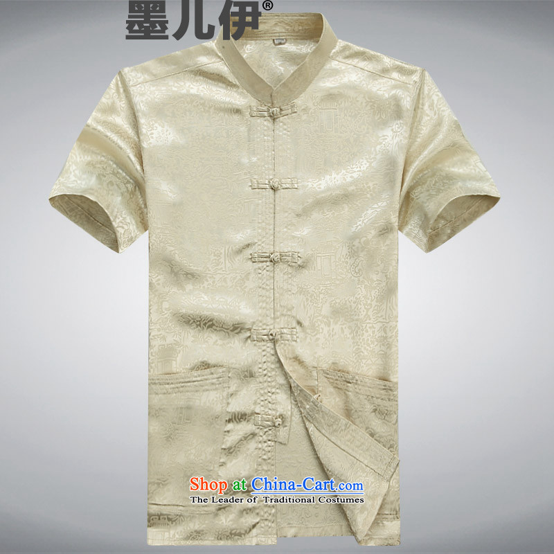 Summer short-sleeved Tang dynasty China wind in Tang Dynasty Older ethnic Chinese elderly Tang Dynasty set of beige?M