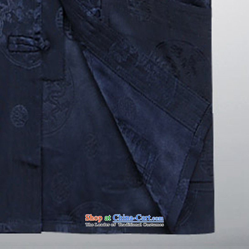 The elderly in the Tang dynasty and the elderly for summer grandpa replacing men short-sleeve kit of ethnic father pack Black聽Ink-XL, a dark blue (MORE YI shopping on the Internet has been pressed.)