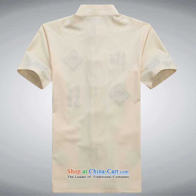 Summer 2015 men's new Tang dynasty short-sleeved Tang in older-Tang dynasty and Tang dynasty short-sleeved T-shirt, beige XXL, national costumes ink-YI (MORE shopping on the Internet has been pressed.