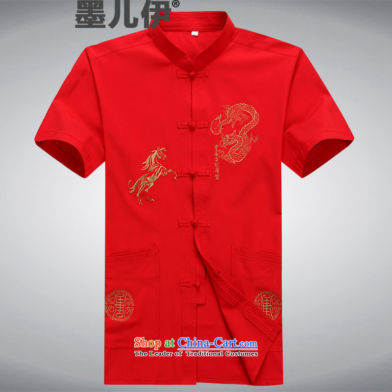 The new short-sleeved Tang in older men casual summer Chinese clothing elderly ethnic XXXL red