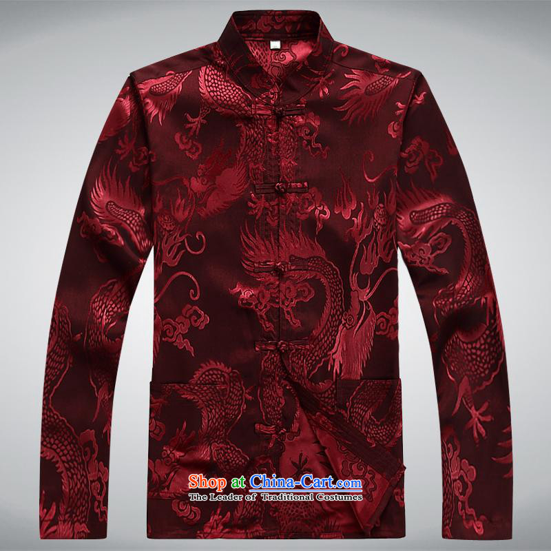 Hundreds of brigade bailv summer Stylish slim, collar comfortable long-sleeved tray clip leisure wears dark red?S