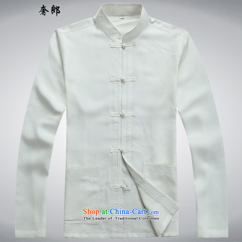 The luxury health new Tang dynasty male short-sleeve kit Tang dynasty cotton linen flax shirt dad summer men with larger national costumes national China wind leisure Tang dynasty tai chi services white shirt燤