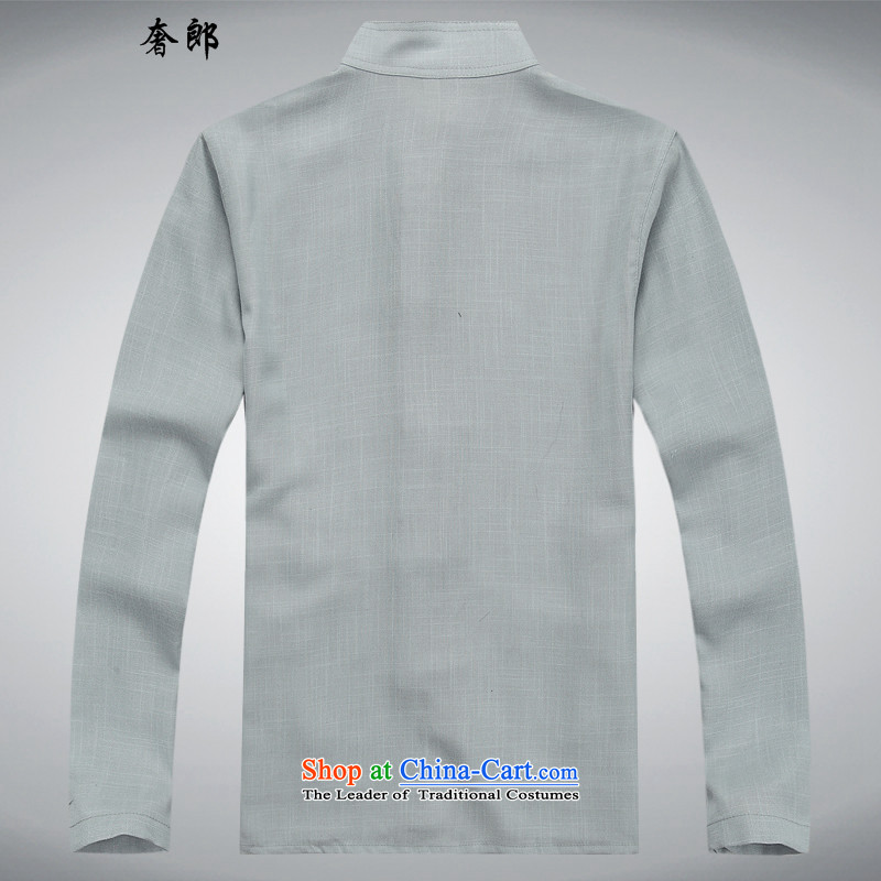 The luxury health new Tang dynasty male short-sleeve kit Tang dynasty cotton linen flax shirt dad summer men with larger national costumes national China wind Tang Dynasty Leisure Services white T-shirt聽, tai chi, luxury, who has been pressed shopping on