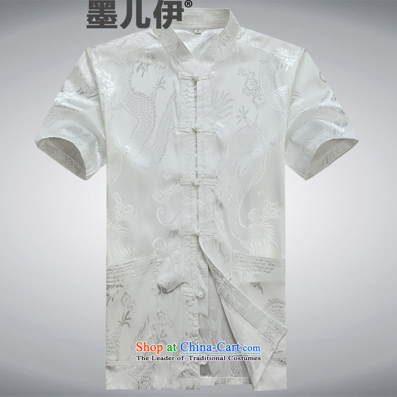 Tang dynasty short-sleeved 2015 new men detained in the national wind up older Tang blouses father men Tang dynasty white M