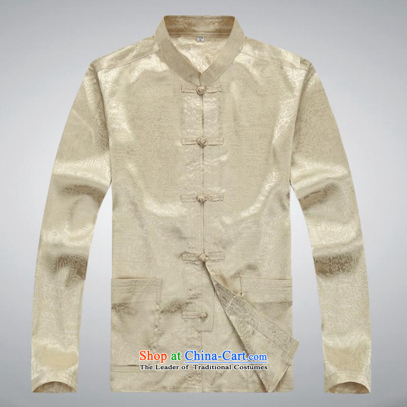 Hundreds of brigade bailv summer Stylish slim, collar comfortable long-sleeved tray clip leisure wears Light Yellow�XL