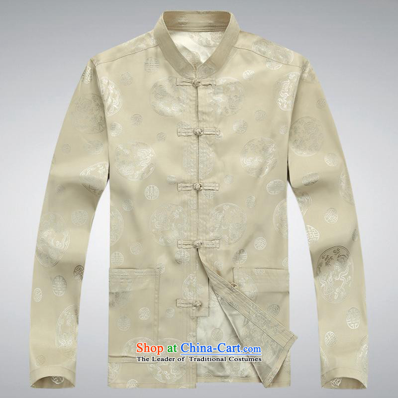 Hundreds of brigade bailv summer Stylish slim, collar comfortable long-sleeved tray clip leisure wears?XXXL Light Yellow