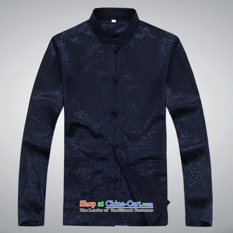 Hundreds of brigade bailv summer Stylish slim, collar comfortable long-sleeved tray clip leisure wears dark blue?M