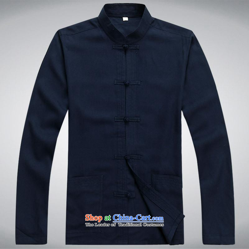 Hundreds of brigade bailv summer Stylish slim, collar comfortable long-sleeved tray clip leisure wears dark blue燲XXL