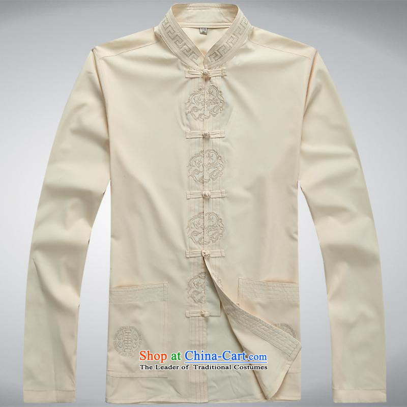 Hundreds of brigade bailv summer Stylish slim, collar comfortable long-sleeved tray clip leisure wears light yellow燣