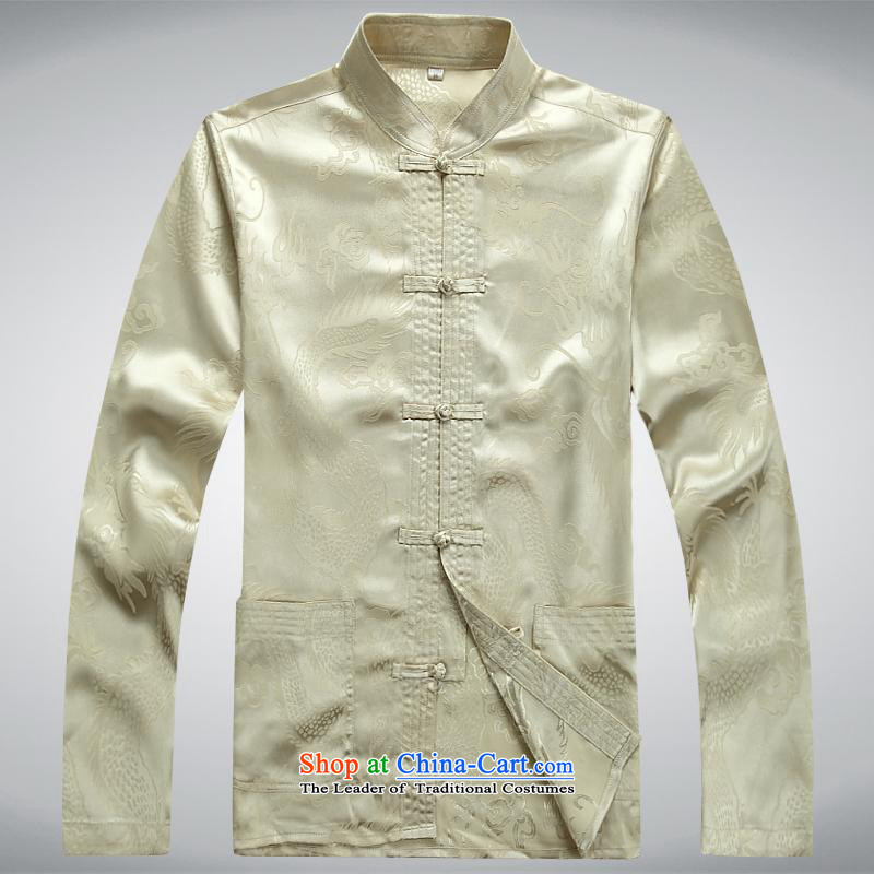 Hundreds of brigade bailv summer Stylish slim, collar comfortable long-sleeved tray clip leisure wears light yellow燤