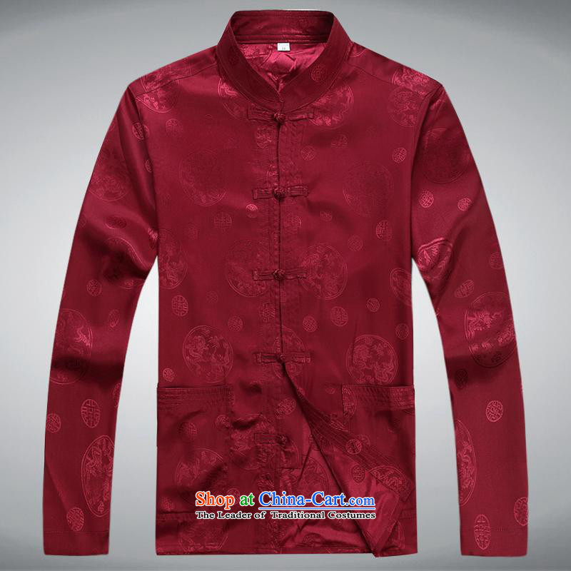 Hundreds of brigade bailv summer Stylish slim, collar comfortable long-sleeved tray clip leisure wears dark red?XXXL