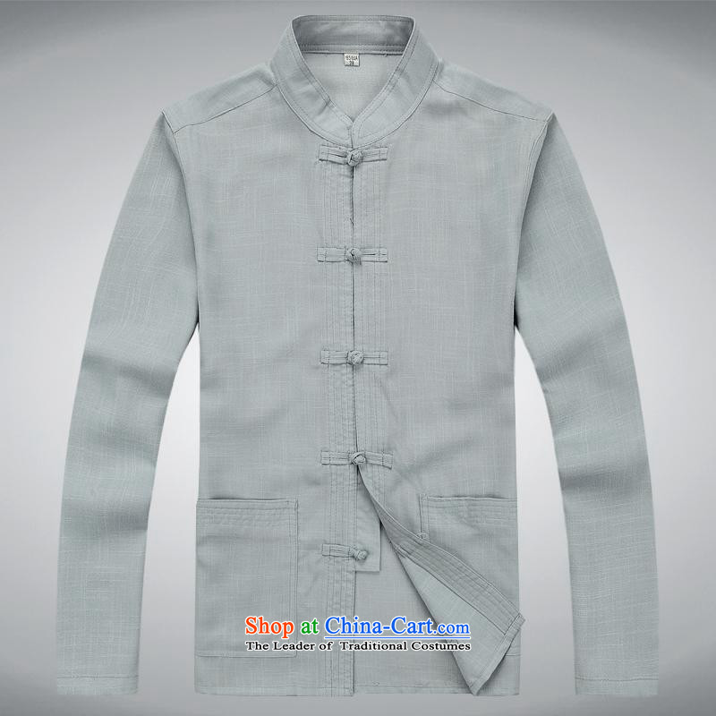 Hundreds of brigade bailv summer Stylish slim, collar comfortable long-sleeved tray clip leisure wears?XXXL Light Gray