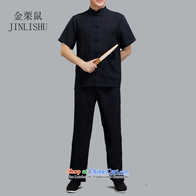 Kanaguri mouse in the new summer older men Tang Dynasty Package pure cotton linen china wind short-sleeved black national costumes L