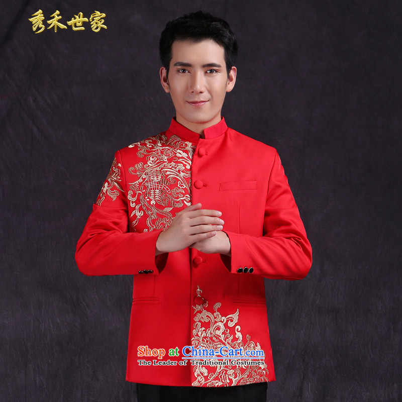 Sau family wo men Chinese style wedding groom long-sleeved Soo Wo service men Tang Dynasty Chinese tunic red wedding dress costume Hi-new large red?L