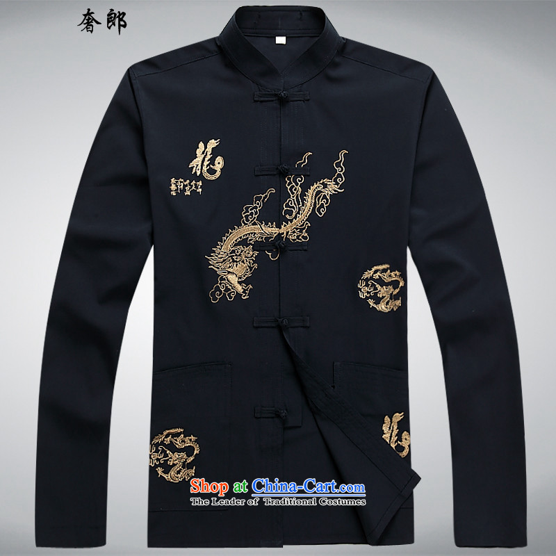 The luxury health Chinese dragon summer men in Tang Dynasty Tsing older Tang Dynasty Recreation Fashion men's long-sleeved shirt Tang Dynasty Chinese wind up manually Han-father replacing black T-shirt燲L