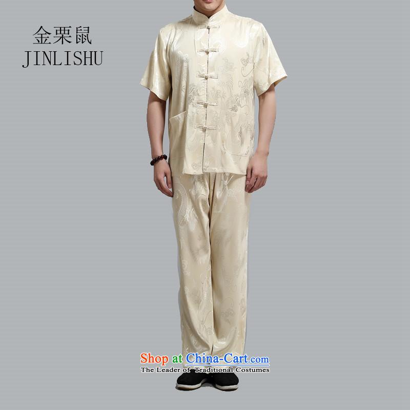 Kanaguri mouse men's short-sleeved in Tang Dynasty older summer T-shirts of older persons in the summer China wind men Tang Dynasty Package gold燣